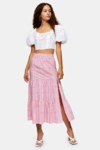 Topshop Pink Check Tiered Midi Skirt | thigh high split skirts