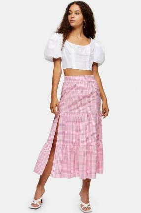 Topshop Pink Check Tiered Midi Skirt | thigh high split skirts - flipped
