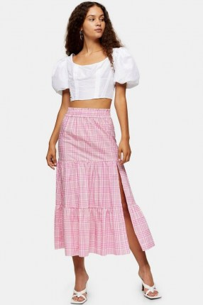 Topshop Pink Check Tiered Midi Skirt | thigh high split skirts