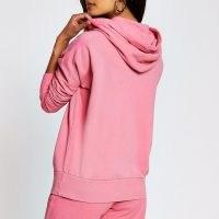 RIVER ISLAND Pink long sleeve exposed seam hoody ~ hoodies ~ casual hooded tops