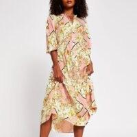 RIVER ISLAND Pink long sleeve scarf smock tier dress ~ printed loose fit dresses ~ tiered hem