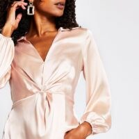 RIVER ISLAND Pink long sleeve twist front blouse ~ satin style blouses