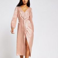 RIVER ISLAND Pink long sleeve twist front midi dress ~ luxe look going out dresses