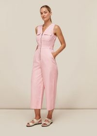 WHISTLES NETTIE UTILITY JUMPSUIT PINK / sleeveless crop leg jumpsuits / cool casual style