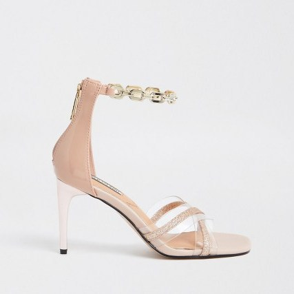 RIVER ISLAND Pink perspex detail sandal ~ barely there high heels ~ chain ankle strap sandals - flipped