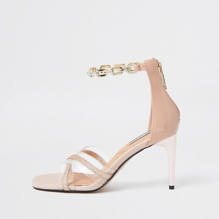 RIVER ISLAND Pink perspex detail sandal ~ barely there high heels ~ chain ankle strap sandals