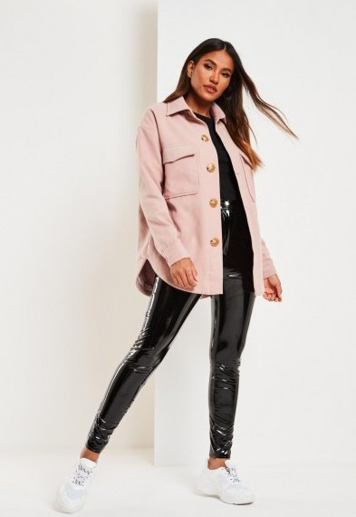 MISSGUIDED pink plain brushed shacket – curved hem shackets - flipped