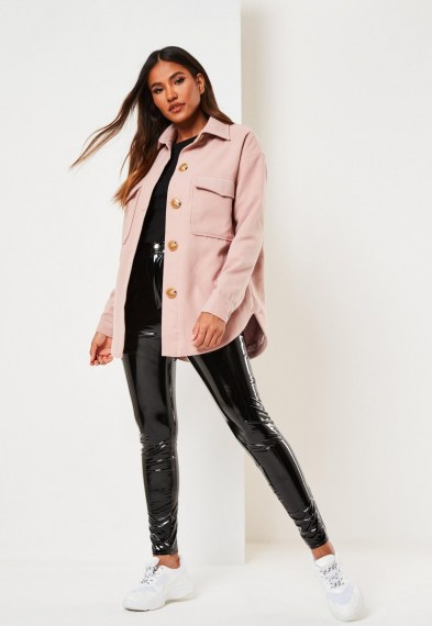 MISSGUIDED pink plain brushed shacket – curved hem shackets