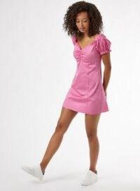 MISS SELFRIDGE Pink Poplin Bardot Mini Dress – puff sleeve gathered bust dresses