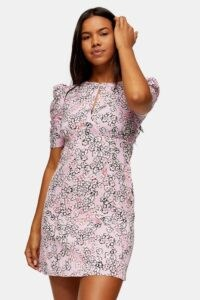 TOPSHOP Pink Ruched Sleeve Mini Dress ~ floral open back dresses