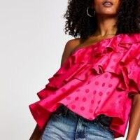 RIVER ISLAND Pink Ss Frill One Shoulder Top – tiered asymmetric tops – hot colours