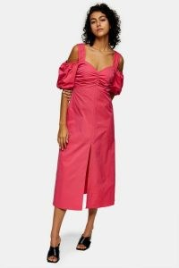 TOPSHOP Pink Taffeta Bardot Midi Dress ~ cold shoulder dresses ~ ruched bust detail