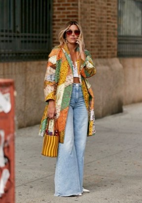Exaggerated flares and patchwork coat | boho street style | faded denim - flipped