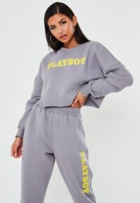 playboy x missguided grey logo cropped sweatshirt – crop hem sweat top