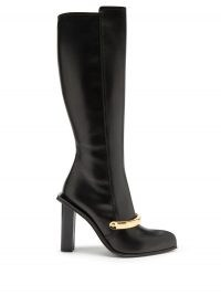 ALEXANDER MCQUEEN Point-toe leather knee-high boots / front metallic detail boot