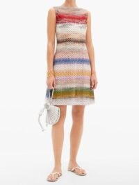 MISSONI Polka-dot zigzag-jacquard knit mini dress ~ fine knitted dresses ~ multicoloured lightweight knits