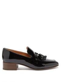 LOEWE Pompom tasselled leather loafers / black patent loafer / shiny front tassel shoes