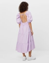 Bershka Poplin dress with ruffles Violet | open back dresses | puff sleeve fashion | clothing with volume | voluminous