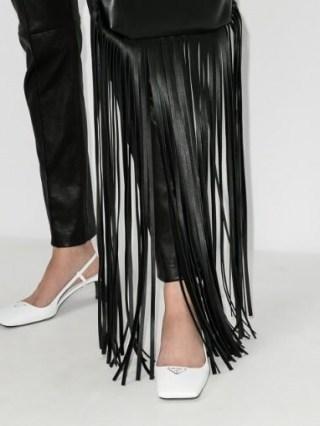 Prada White 55 Square Toe Leather Pumps / glamorous strappy mid heel slingbacks ❤️ - flipped