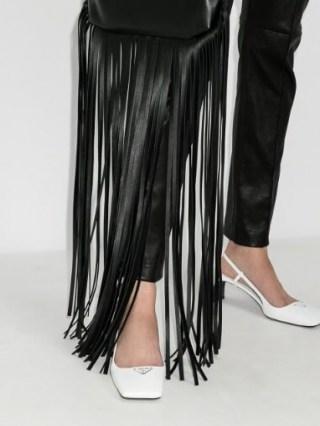 Prada White 55 Square Toe Leather Pumps / glamorous strappy mid heel slingbacks ❤️