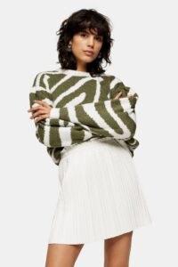 Topshop PU White Pleated Mini Skirt