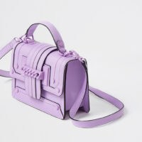 RIVER ISLAND Purple chain front cross body satchel bag – colourful satchels – bright crossbody bags