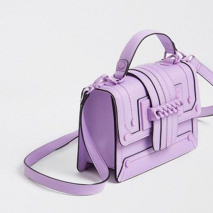 RIVER ISLAND Purple chain front cross body satchel bag – colourful satchels – bright crossbody bags - flipped