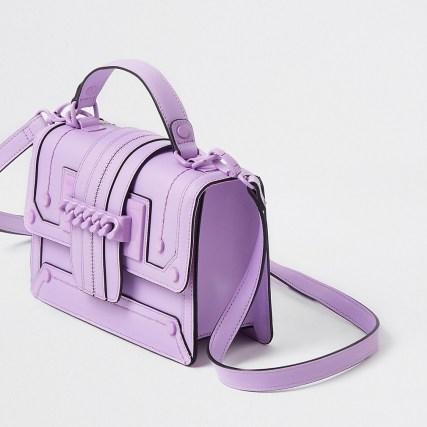 RIVER ISLAND Purple chain front cross body satchel bag – colourful satchels – bright crossbody bags