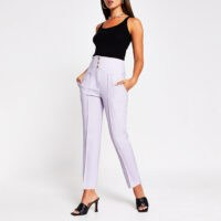 RIVER ISLAND Purple corset high waist cigarette trouser ~ front seamed trousers