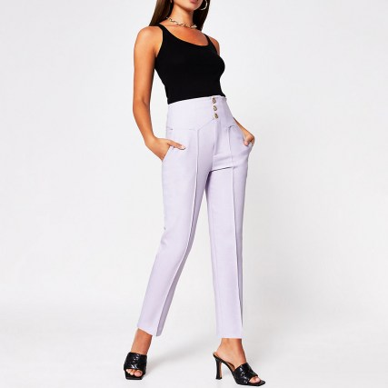 RIVER ISLAND Purple corset high waist cigarette trouser ~ front seamed trousers - flipped