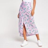 RIVER ISLAND Purple floral satin midi skirt ~ front split skirts