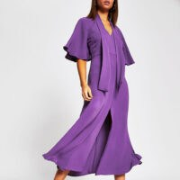 RIVER ISLAND Purple pussybow waisted midi dress ~ floaty wide sleeve dresses
