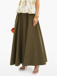BROCK COLLECTION Ramerino laced slubbed cotton-blend canvas skirt khaki green | maxi skirts with movement