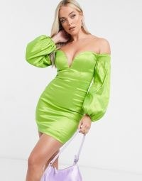 Rare London plunge front mini dress with volume sleeve detail in sage green | bright fitted party dresses | glamorous going out fashion | off the shoulder | bardot