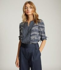 REISS REBECCA PRINTED BLOUSE NAVY / blue multi print blouses