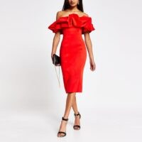 River Island Red bardot ruffle midi bodycon dress | LRD | evening glamour | off the shoulder