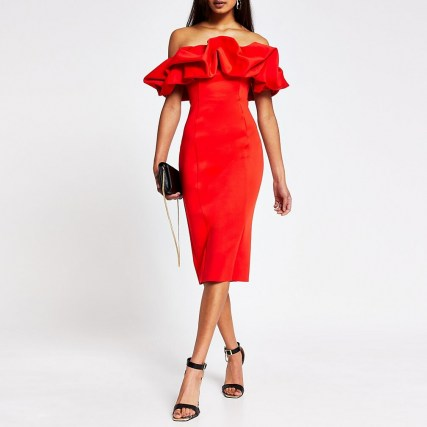 River Island Red bardot ruffle midi bodycon dress | LRD | evening glamour | off the shoulder