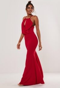 MISSGUIDED red halter keyhole fishtail maxi dress ~ cut-out occasionwear ~ long halterneck dresses