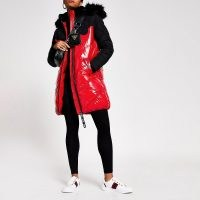 RIVER ISLAND Red long sleeve quilted puffer jacket / shiny padded jackets / hooded winter coats / faux fur trimmed hood / autumn outerwear