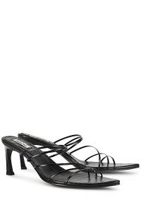 REIKE NEN 5 Strings 70 black leather sandals – strappy curved heel mule