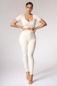 MESHKI NINA Rib Knit Leggings Cream