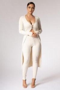 MESHKI RACHAEL Pearl Button Long Cardigan Cream ~ longline neutral ribbed cardigans