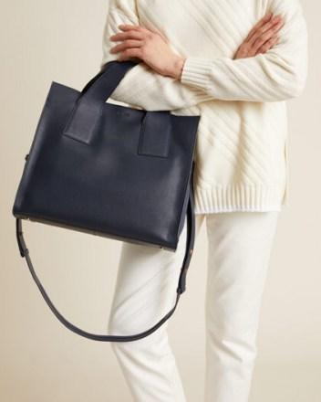 JIGSAW ROSCOE LEATHER WORK BAG NAVY / dark blue handbags - flipped