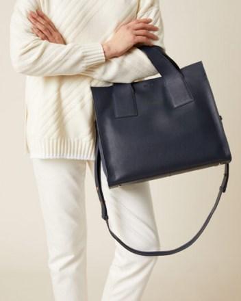 JIGSAW ROSCOE LEATHER WORK BAG NAVY / dark blue handbags