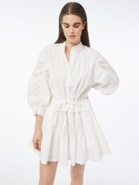 FRAME Ruched Sleeve Dress Blanc | white voluminous sleeved dresses