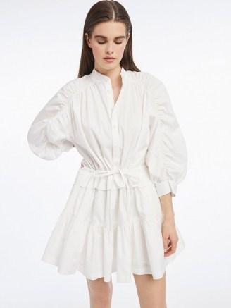 FRAME Ruched Sleeve Dress Blanc | white voluminous sleeved dresses - flipped