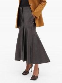 PETAR PETROV Ryo fishtail-hem leather skirt in black ~ flared hem skirts