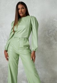 Missguided sage co ord faux leather balloon sleeve crop top | fashion with volume | green tops