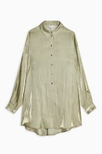 TOPSHOP Sage Liquid Satin Oversized Shirt – fluid fabric shirts