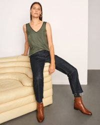 JIGSAW SATIN FRONT TANK / khaki green vest / effortless style tops